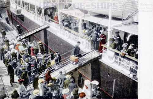 Emigrants boarding ship