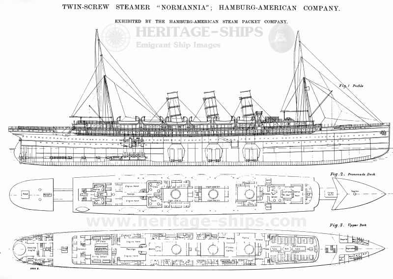 Normannia (2) - deck plan and profile