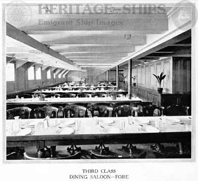 Cameronia (2) - 3rd class dining saloon - fore