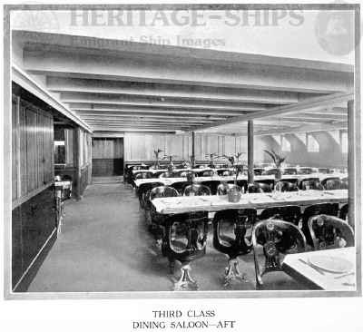 Cameronia (2) - 3rd class dining saloon - aft