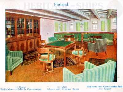 Finland - 1st class library & drawing room