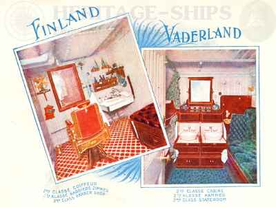 Finland & Vaderland (2) - barber shop & 2nd class stateroom