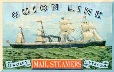 Guion Line advertising card - S.S. Alaska