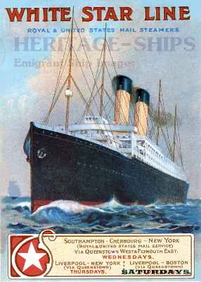White Star Line advertising card - ca. 1910