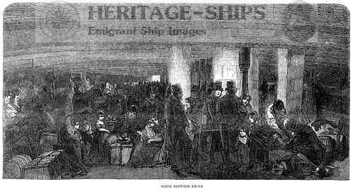 Scene between decks, steerage passengers 1850