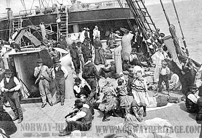 Steerage passengers on deck of the Kaiser Wilhelm II