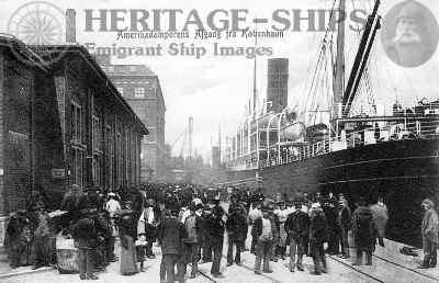 Departure of emigrant ship from Copenhagen