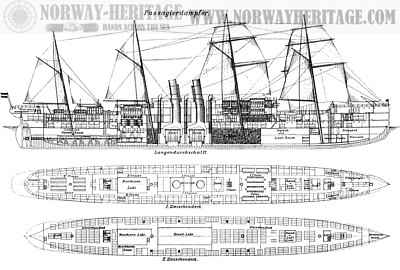 Werra class steamer - deck plans and sectional view