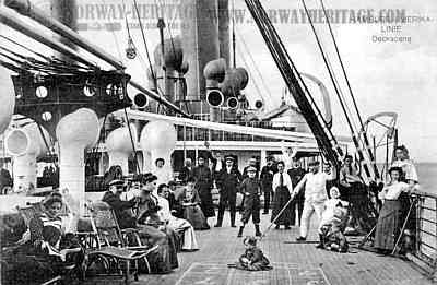 Passengers playing deck games on a HAPAG steamer