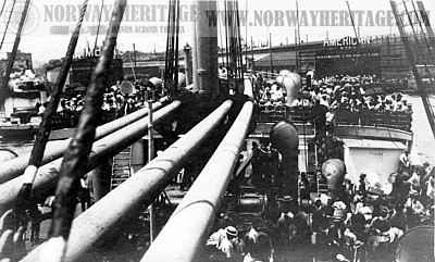 Steerage passengers on deck of the Moltke