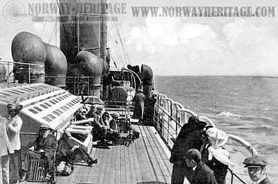 Passengers on the boat deck of a HAPAG steamer