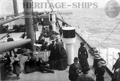 Saxonia (1), steerage passengers on deck