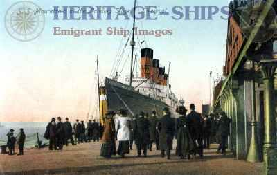 Cunarder Mauretania at Liverpool landing stage