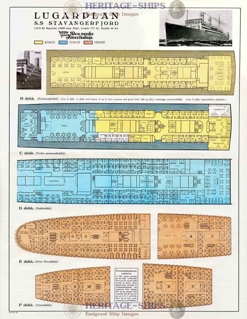 Stavangerfjord deck plans id 1448 heritage ships for Deck plans and material list