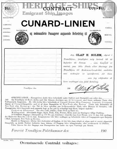 Cunard Line passenger contract - Click Image to Close