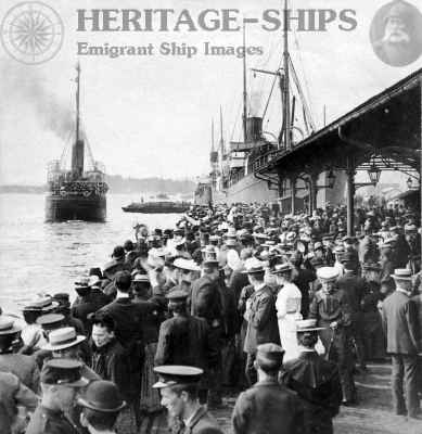 Departure of emigrant ship from Christiania (Oslo)