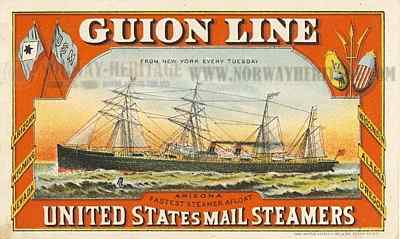 Guion Line advertising card