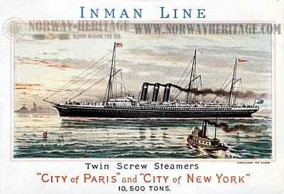 Inman Line Advertising Card